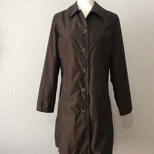 Lands' End Brown Trench Coat with Liner Size XS